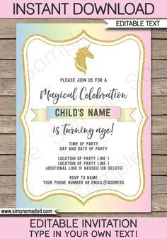 Unicorn Invitations Template | Unicorn Theme Birthday Party Invite | DIY Editable & Printable Template | Instant Download via simonemadeit.com