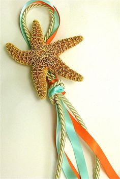 Beach Wedding Decor - Starfish Chair Decoration with two Ribbons - Natural White or Brown Sugar Starfish - Choose from 14 Ribbon Colors Key West Wedding, Our Wedding, Destination Wedding, Wedding Planning, Dream Wedding, Wedding Church, Hawaii Wedding, Wedding Stuff, Beach Wedding Decorations