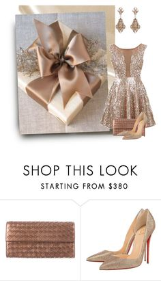 """""""bronze christmas"""" by art-gives-me-life ❤ liked on Polyvore featuring Frontgate, Bottega Veneta, Christian Louboutin, Thot, contestentry and thebigpicture"""