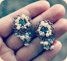 Vintage inspired earrings: vintage brass, sterling silver, blue swiss topaz, pearls (FW, salt akoya)