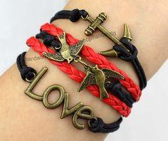 antique bronze anchor bracelet lover birds bracelet by handworld, $5.99