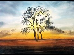Watercolor Tree in a Sunset Light Painting Demonstration - YouTube