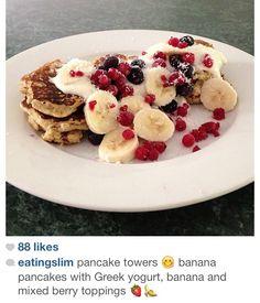 Pancakes  with greek yogurt, fruit