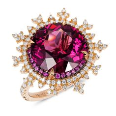 Nadine Aysoy's 'Tsarina Fire Flake Ring' is set in rose gold and the central round-cut rhodolite is surrounded by a band of 28 pink sapphires The snowflake edge is set with 105 white round cut diamonds. Wholesale Engagement Rings, Alternative Engagement Rings, Gold Engagement Rings, Round Cut Diamond Rings, Saphir Rose, Diamond Jewelry, Jewelry Rings, Diamond Pendant, Gold Pendant