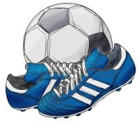 free football and boots digital stamp set pre coloured