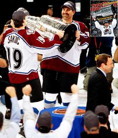 joe sakic hands the cup to ray bourque to hoist #greatestmoments : Bourque was given the first lap/hoisting of the Stanley Cup, typically reserved for the Captain.