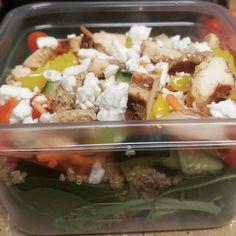 Greek chicken salad. My GF lunch for tomorrow. Grilled chicken cucumber carrots grape tomatoes feta peppercini quinoa. #glutenfree#glutenfreelife#healthychoices#foodporn by wichuponachar