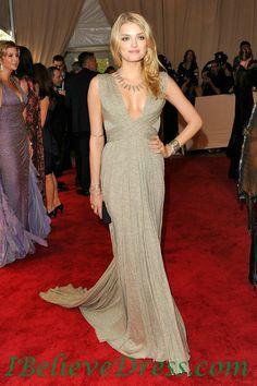 Chiffon Lily Aldridge Sexy Evening Dress 2012 Met Gala Ball Red Carpet