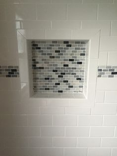 Decorative Tile Border In Shower Double Shower Niche With Decorative Green Glass Accent Tile