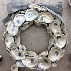 Coastal Wreaths: Talk about pretty—pearlized oyster shells will make an elegant addition to your holiday door. | CoastalLiving.com
