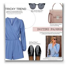 """""""Tricky Trend: Daytime Pajamas"""" by lovine ❤ liked on Polyvore featuring Whiteley, Topshop, Quay, Alexander McQueen, FitFlop and TrickyTrend"""