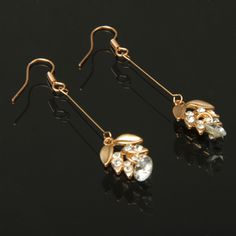 Leaves Shaped Charming Rhinestone Pendant Ear Drop Earrings / Ear Pendants Jewelry(White)