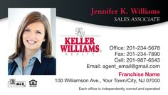 PICT-152K - Black wave accent on white background with agent photo. (For more Keller Williams Realty business card designs, visit AgentCards.biz)