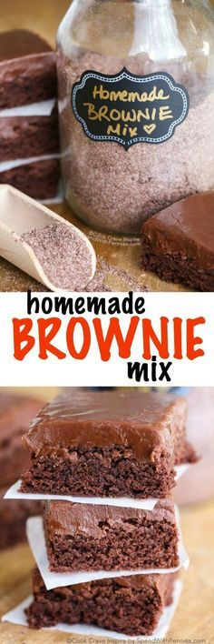 After trying this homemade brownie mix recipe, you will never reach for a boxed brownie mix again! This recipe comes together in a matter of minutes and creates 6 batches of mix, which will keep for u (Christmas Bake Brownies) Homemade Dry Mixes, Homemade Brownie Mix, Homemade Brownies, Homemade Butter, Cupcakes, Cupcake Cakes, Brownie Mix Recipes, Just Desserts, Dessert Recipes