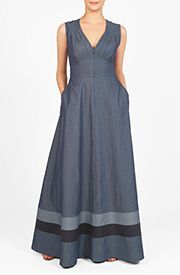 Cotton chambray falls gracefully into the pleated bodice and flowing skirt with contrast banded stripe hem of our maxi dress accented with a wide banded empire waist. Stylish Dresses, Simple Dresses, Casual Dresses For Women, Beautiful Dresses, Clothes For Women, Hijab Fashion, Fashion Dresses, Women's Fashion, Cotton Dresses