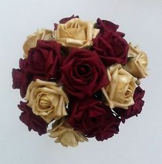 burgandy wedding | Burgundy/Gold Roses Brides/Bridesmaids Wedding Bouquet Flowers ...