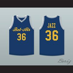 ae60fbc3b04a Jazzy Jeff 36 Bel-Air Academy Blue Basketball Jersey Deluxe