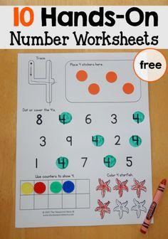 Hands on number worksheets from themeasuredmom.com.....a wonderful blog!
