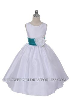 Flower Girl Dress Style 104-Choice of White or Ivory Dress with 37 Sash Options