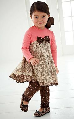 Peaches n Cream Coral Brown Leopard & Lace Leggings set Girls 4-6x - Color Me Happy Boutique