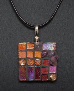 Mosaic jewelry colorful millefiori amythest by TerryChanceMosaics