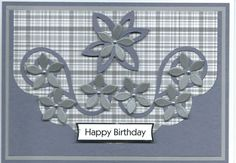 gray floral Happy Birthday