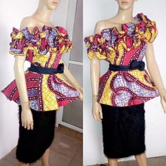 Roll It Out with Latest Stylish Peplum Ankara Styles - Wedding Digest Naija African Tops, African Wear, African Attire, African Fashion Dresses, African Outfits, African Blouses, African Lace, African Style, African Dress