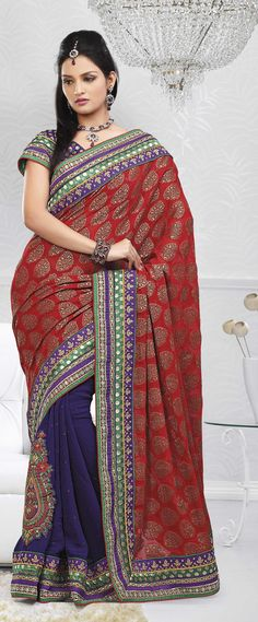 $105.68 Red Brocade and Faux Georgette Saree 18267 With Unstitched Blouse