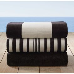 Portofino Beach Towel Collection - Black (£33) ❤ liked on Polyvore featuring home, bed & bath, bath, beach towels, towels, restoration hardware, restoration hardware beach towels, black beach towel i plush beach towels