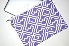 Mac Book Laptop sleeve, 13, or 15 INCH / Zipper close,  shoulder bag, Messenger Strap, in Purple  by Darby Mack