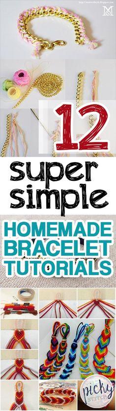 12 Super Simple Homemade Bracelet Tutorials -