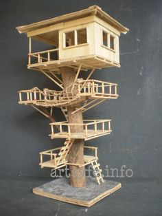 Popsicle Stick Crafts House | Here's another tree house that my husband made using popsicle sticks ...