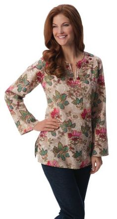 Collections Etc – Cora Floral Paisley V- Neck Tunic Top « Clothing Impulse