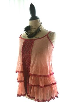 Bohemian Tank Top, Boho Chic, cottage chic, country chic shirt, shabby chic raspberry red, womens clothing, romantic $48