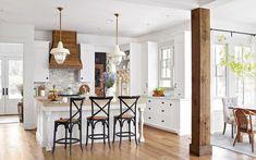 119 Stuning Farmhouse Kitchen Design Ideas And Remodel To Inspire Your Kitchen Kitchen Sink Design, Big Kitchen, Kitchen Decor, Kitchen Post, Cheap Kitchen Cabinets, Painting Kitchen Cabinets, White Farmhouse Kitchens, Home Kitchens, Kitchen Models