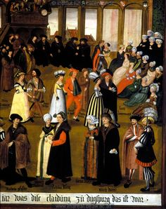 Couples dancing in the dance house of Augsburg,1500  Man in the right corner wears a sprang leggins