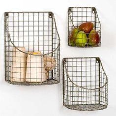 Future Ship 6/21 - Set of Three Metal Wall Baskets