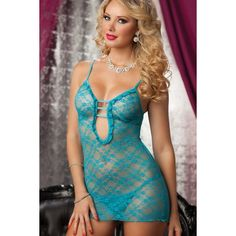Sexy turquoise floral lace body-hugging chemise with sheer back and matching G-string  $10  #sexy #lingerie #babydoll