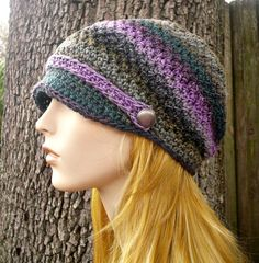 Hand Crocheted Hat Womens Hat  Chesapeake Beanie With by pixiebell, $50.00