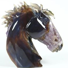 """6.7 """" Carved Agate and Amethyst Geode Horse Head Sculpture. Stone origin : Brazil. Via rikoo.com ( right side view )"""