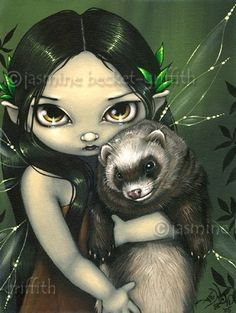 A Ferret and His Fairy gothic fantasy art print by strangeling, $29.99.. This is my tattoo!!