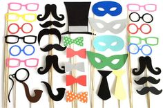 Photo Both Props 34 X Large Party Pack of 34 Wedding Photo Booth Props Party Decorations Party Supplies Masks Glasses Mustache Silver