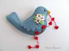Felt Birdie Pin with String of Hearts by Beedeebabee on Etsy