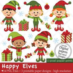 Christmas clipart - Happy Elves - Clip art and Digital paper set