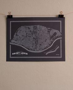 St. Louis Map - 18 x 24 - Street and Neighborhood Map. $30.00, via Etsy.
