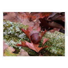 Acorn and Oak Leaf Greeting Card - oak gifts tree leaves style nature gift idea cyo