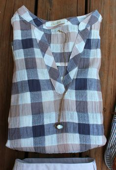 Plaid Print V Neck Shirt