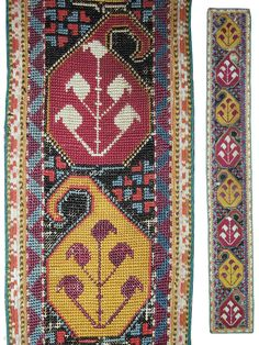 An outstanding antique Uzbek silk cross-stitched belt. It dates to the 3rd quarter of the 19th century and is made in Shahrisabz region of Uzbekistan. The design is exceptional with beautiful repeating  ...
