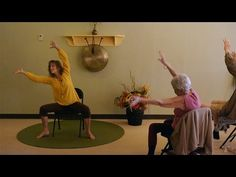 """Yes, you can burn calories just sitting in your chair if you MOVE and DANCE! Join me in this Seated Chair Yoga Dance called """"Living on the Corner of Joy and . Yoga 1, Yoga Dance, Kid Yoga, Senior Fitness, Yoga Fitness, Chair Exercises, Stretches, Pole Dancing Fitness, Elderly Activities"""