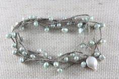 Minty Sea Pearls Necklace Freshwater Pearl Crochet by catilla, $25.00